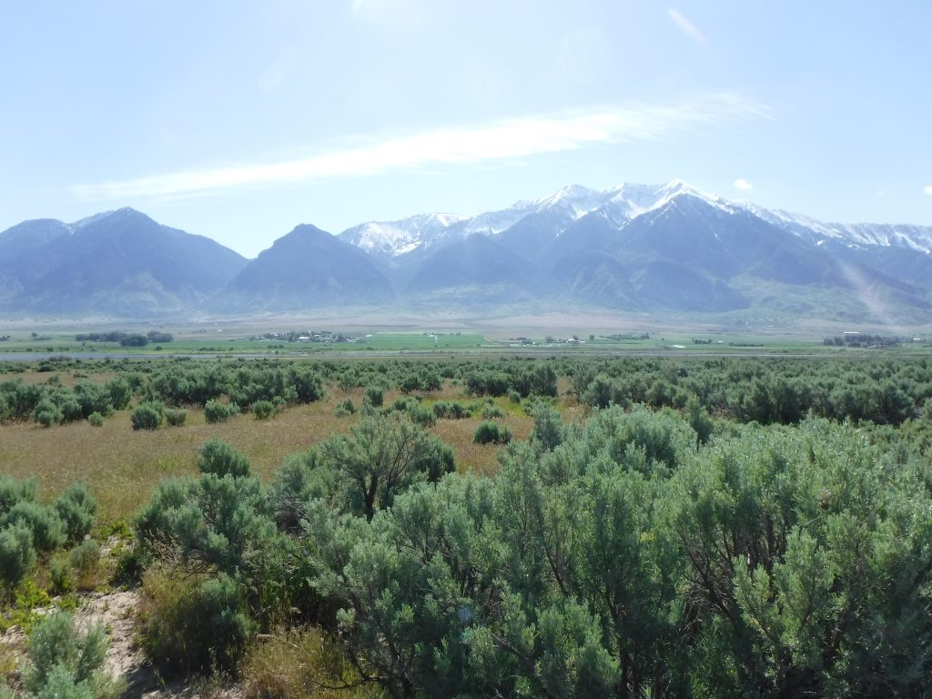 A mountain view of the Clover Creek Solar project area in San Juan, Utah.
